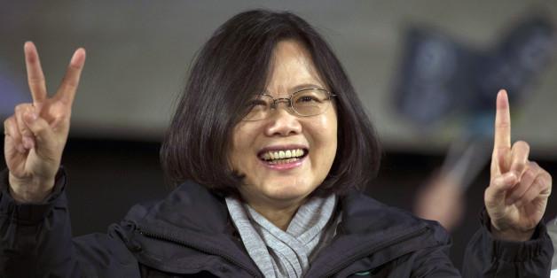 Tsai Ing-wen presidential candidate of Taiwan's Democratic Progressive Party, gestures during a rally in Taoyuan district of Taipei, Taiwan, Thursdy, Jan. 14, 2016.  Taiwan will hold its presidential election on Jan. 16, 2016.  (AP Photo/Ng Han Guan)
