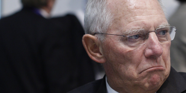 Germany's Minister of Finance Wolfgang Schauble  attends in the  Informal Meeting of Ministers for Economic and Financial Affairs (ECOFIN)  in the National Art Gallery  in Vilnius, Lithuania, Friday, Sept. 13, 2013.  (AP Photo/Mindaugas Kulbis)