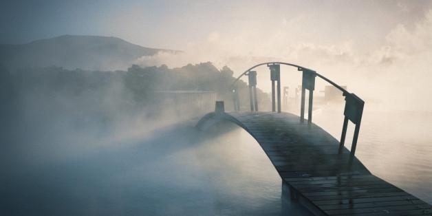 Bridge covered in fog in Iceland