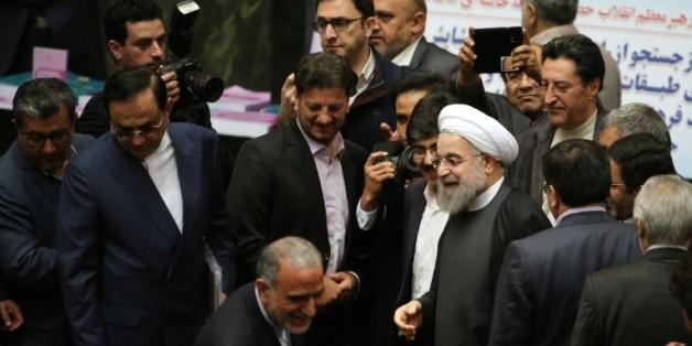 Le président iranien Hassan Rohani au Parlement à Téhéran, le 17 janvier 2017
