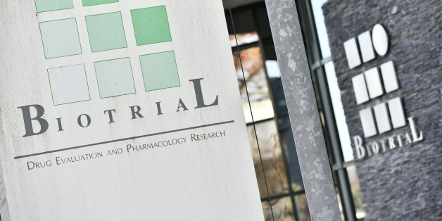 A picture taken on January 16, 2016, in Rennes, western France, shows the logo of the Biotrial laboratory on its building where a clinical trial of an oral medication left one person brain-dead and five hospitalised. The study was a phase one clinical trial, in which healthy volunteers take the medication to 'evaluate the safety of its use, tolerance and pharmacological profile of the molecule', French Health Minister Marisol Touraine added in a statement. / AFP / LOIC VENANCE        (Photo credit should read LOIC VENANCE/AFP/Getty Images)