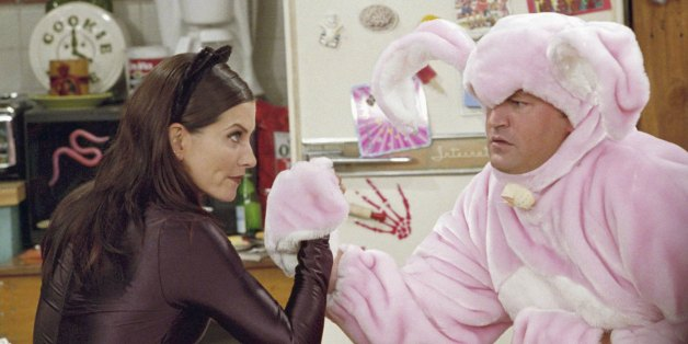FRIENDS -- 'The One with the Halloween Party' -- Epsiode 6 -- Aired 11/1/2001 -- Pictured: (l-r) Courteney Cox as Monica Geller-Bing as 'Catwoman', Matthew Perry as Chandler Bing as 'Big Pink Bunny'-- Photo by: NBCU Photo Bank