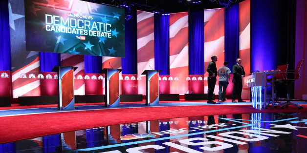 CHARLESTON, SC - JANUARY 17:  The stage at the Gaillard Center is prepared for tonight's Democratic debate on January 17, 2016 in Charleston, South Carolina. Democratic presidential hopefuls Hillary Clinton, Bernie Sanders and Martin O'Malley spent yesterday campaigning in South Carolina in lead up to tonight's debate.  (Photo by Andrew Burton/Getty Images)
