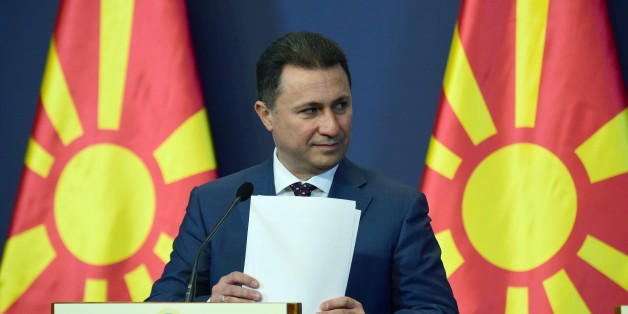 Macedonian Prime Minister Nikola Gruevski gives a joint press conference with his Hungarian counterpart (not pictured) at the delegation hall of the parliament building in Budapest on November 20, 2015. The Macedonian guest is on a one-day visit to the Hungarian capital.     AFP PHOTO / ATTILA KISBENEDEK        (Photo credit should read ATTILA KISBENEDEK/AFP/Getty Images)