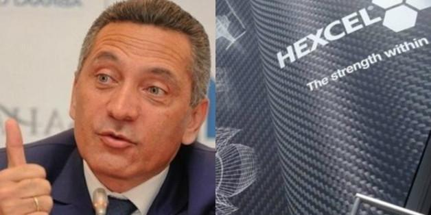 Moulay Hafid Elalamy, ministre de l'Industrie et Thierry Merlot, vice-président et directeur général d'Hexcel pour l'Europe, l'Asie et le Moyen-Orient.