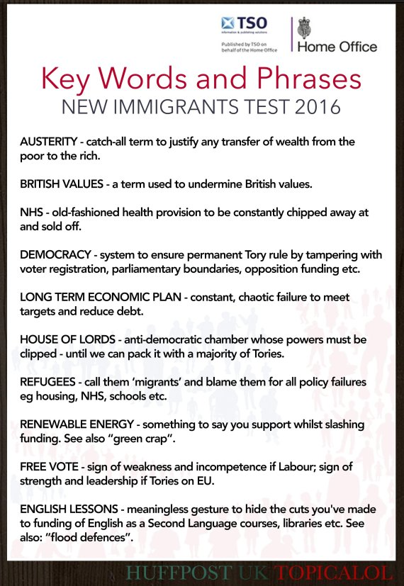 Very David Cameron's Immigrant English Tests Key Words List Revealed HV86