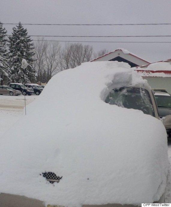 ontario snow covered car