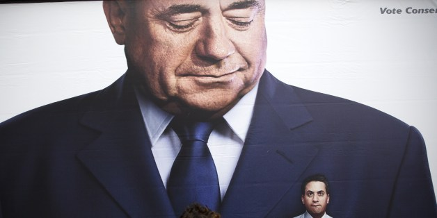 A lorry displaying a Conservative party poster which pictures of ex-Labour Party Leader Ed Miliband in the pocket of former Scottish First Minister Alex Salmond