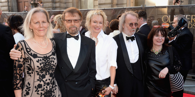 LONDON, ENGLAND - APRIL 13:  (L to R) Phyllida Lloyd, Bjorn Ulvaeus, Judy Craymer, Benny Andersson and Catherine Johnson attend the Laurence Olivier Awards at the Royal Opera House on April 13, 2014 in London, England.  (Photo by Dave J Hogan/Getty Images)