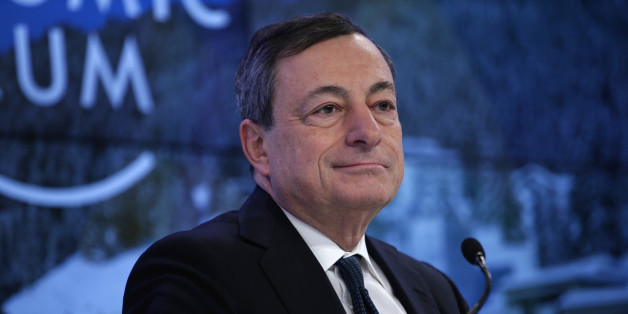 Mario Draghi, president of the European Central Bank (ECB), looks on during a panel session at the World Economic Forum (WEF) in Davos, Switzerland, on Friday, Jan. 22, 2016. World leaders, influential executives, bankers and policy makers attend the 46th annual meeting of the World Economic Forum in Davos from Jan. 20 - 23. Photographer: Matthew Lloyd/Bloomberg via Getty Images