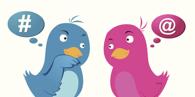 Vector illustration of two cute birds communicating with each other.