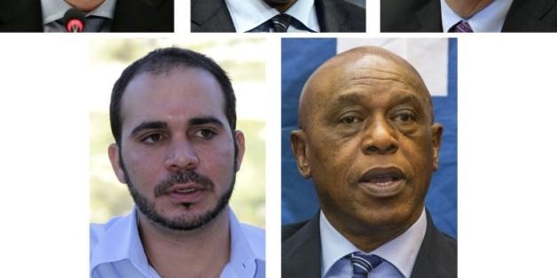 Les 5 candidats à la présidence de la Fifa (g à d) Gianni Infantino, Cheikh Salman, Jérôme Champagne, Prince Ali et Tokyo Sexwale