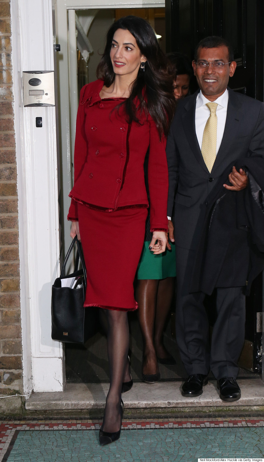 Amal Clooney Nails Business Chic In Red Skirt Suit