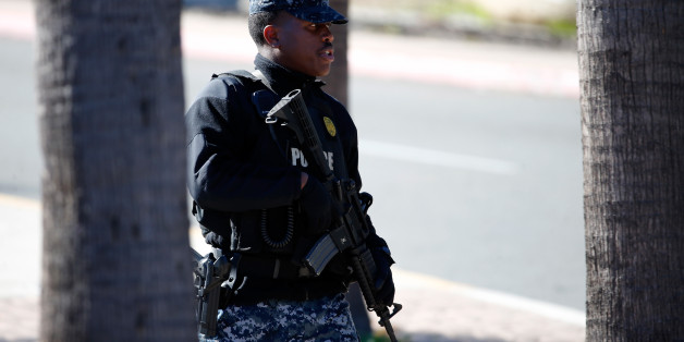 SAN DIEGO, CA - JANUARY 26:  Military Police control entry into Naval Medical Center San Diego after reports of gunfire within the Naval Hospital on January 26, 2016 in San Diego, California.   Initial reports of gunfire were later said to be unfounded by local law enforcement.  (Photo by Sean M. Haffey/Getty Images)