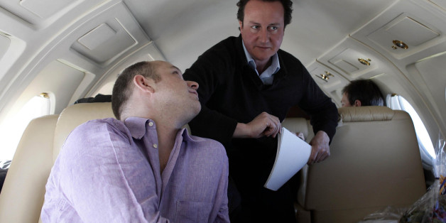 Leader of the Conservative party David Cameron (right) and his aide Steve Hilton (left) during their visit to the Arctic, April 2006.