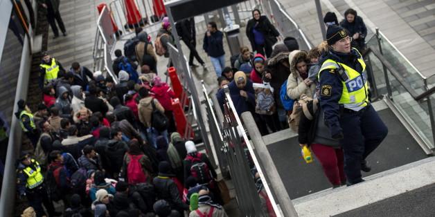 Im November 2015 treffen Flüchtlinge in der schwedischen Stadt Malmö ein