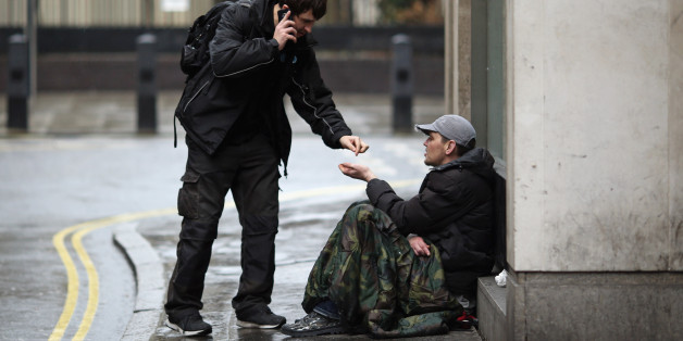 LONDON, ENGLAND - JANUARY 27:  Wayne, 35 (no surname given) asks passers by for money near Westminster on January 27, 2016 in London, England. A group of 21 charities, including Crisis, St Mungos and Centrepoint, have called for extra effort by the next London Mayor to help end the growing problem of homelessness on Londons streets.  (Photo by Dan Kitwood/Getty Images)