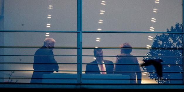 Horst Seehofer, Sigmar Gabriel und Angela Merkel gestern Abend im Kanzleramt