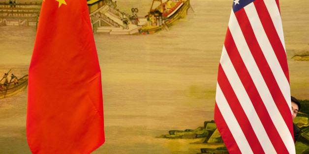 A U.S. flag is tweaked ahead of a news conference between U.S. Secretary of State John Kerry and Chinese Foreign Minister Wang Yi at the Ministry of Foreign Affairs in Beijing, Wednesday, Jan. 27, 2016. Kerry was in China on the final leg in his latest round-the-world diplomatic mission. (AP Photo/Jacquelyn Martin, Pool)