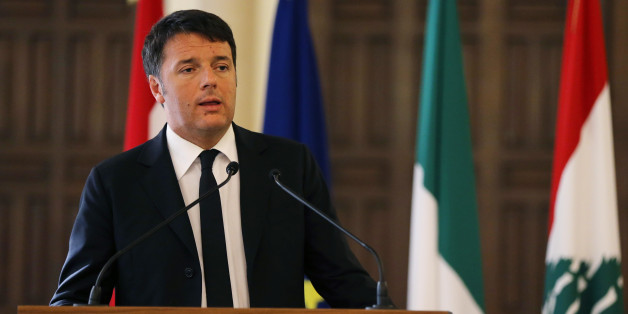 Italian Prime Minister Matteo Renzi, speaks during a joint press conference with his Lebanese counterpart Tammam Salam, at the government house in Beirut, Lebanon, Tuesday Dec. 22, 2015. Renzi is in Lebanon to meet with Lebanese officials and to visit the Italian UN peacekeepers who work in south Lebanon and to visit Syrian refugee schools. (AP Photo/Hussein Malla)