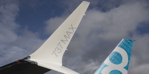 SEATTLE, WA - JANUARY 29: The tail and a next generation winglet of a A Boeing 737 MAX 8 are pictured at Boeing Field after its its first flight on January 29, 2016 in Seattle, Washington. The 737 MAX is the newest version of Boeing's most popular airliner featuring more fuel efficient engines and redesigned wings. (Photo by Stephen Brashear/Getty Images)