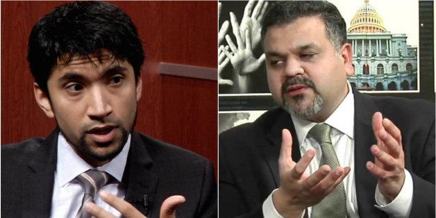 De gauche à droite, Arsalan Suleman, envoyé spécial de l'OCI et Qamar-Ul Huda conseiller au bureau des religions et des affaires mondiales au département d'Etat américain
