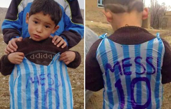 messi afghan boy shirt bag