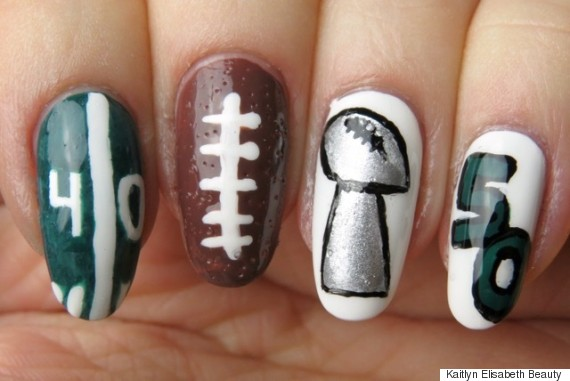 super bowl nail art