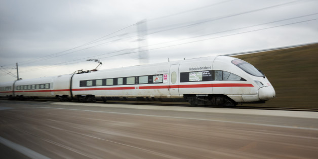 BERLIN, GERMANY - DECEMBER 09: An ICE High-Speed Train is seen during the journey from Erfurt to Leipzig on December 09, 2015 in Leipzig, Germany. (Photo by Thomas Trutschel/Photothek via Getty Images)