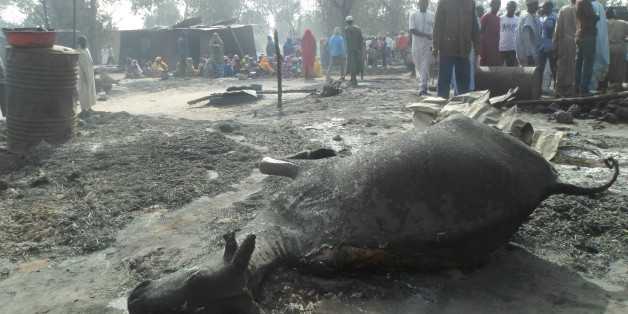 People gather around a dead animal and burnt out houses following an attack by Boko Haram in Dalori village 5 kilometers (3 miles) from Maiduguri, Nigeria , Sunday Jan. 31, 2016. A survivor hidden in a tree says he watched Boko Haram extremists firebomb huts and listened to the screams of children among people burned to death in the latest attack by Nigeria's homegrown Islamic extremists. (AP Photo/Jossy Ola)