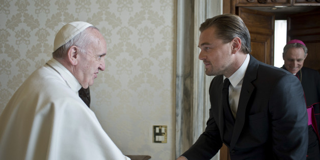 Pope Francis shakes hands with actor Leonardo Di Caprio during a private audience in the pontiff's private studio, at the Vatican, Thursday, Jan. 28, 2016. (L'Osservatore Romano/Pool Photo via AP)