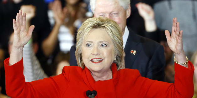 Democratic presidential candidate Hillary Clinton speaks during a caucus night rally at Drake University in Des Moines, Iowa, Monday, Feb. 1, 2016. (AP Photo/Patrick Semansky)
