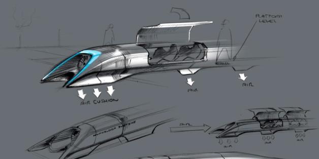Eine Entwurfzeichnung für den Hyperloop
