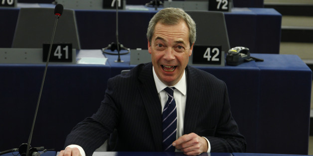 STRASBOURG, FRANCE - FEBRUARY 1: The leader of the British UKIP party Nigel Farage arrives in the plenary room in the European Parliament ahead of the debate on the ECB report for 2014 on February 1, 2016 in Strasbourg, France. During the last press conference in Frankfurt, Draghi indicated that the bank may review its course of action in March. (Photo by Michele Tantussi/Getty Images)