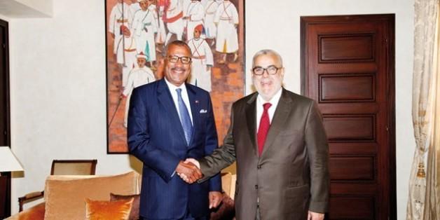 Le Premier ministre Abdelilah Benkirane en compagnie de Dwight L. Bush, ambassadeur des Etats-Unis au Maroc.