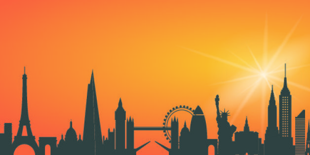 City skyline including Paris, London, New York and Sydney