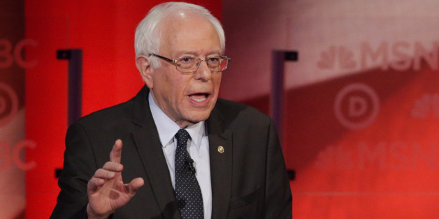 Democratic presidential candidate, Sen. Bernie Sanders, I-Vt,  makes a point during a Democratic presidential primary debate with Democratic presidential candidate, Hillary Clinton hosted by MSNBC at the University of New Hampshire Thursday, Feb. 4, 2016, in Durham, N.H. (AP Photo/David Goldman)
