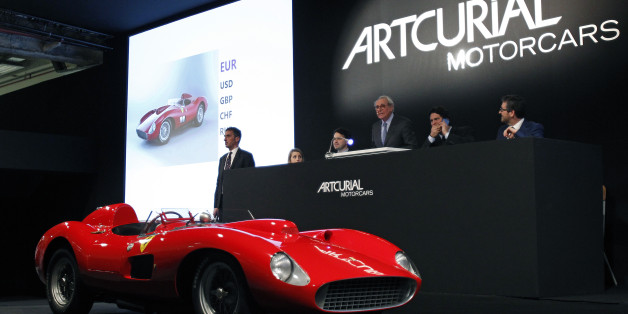 PARIS, FRANCE - FEBRUARY 05:  1957 Ferrari 335 S Spider Scaglietti model from the Pierre Bardinon collection is displayed during the auction at Retromobile show by the Artcurial auction house on February 05, 2016 in Paris, France. Estimated between 28 and 32 million euros, the 335 Sport Scaglietti finally sold for 32,075 million euros (35,695 million dollars), becoming the second most expensive car in the world behind the Ferrari 250 GTO 1962 which sold for for 34,025 million euros (37,868 million dollars)  (Photo by Chesnot/Getty Images)