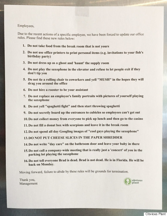 obvious plant office rules