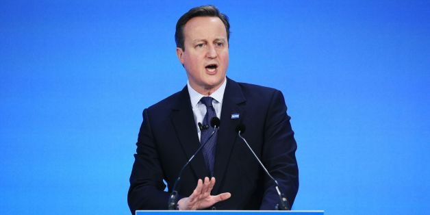Prime Minister David Cameron speaks during a press conference at the 'Supporting Syria and the Region' conference at the Queen Elizabeth II Conference Centre in London.
