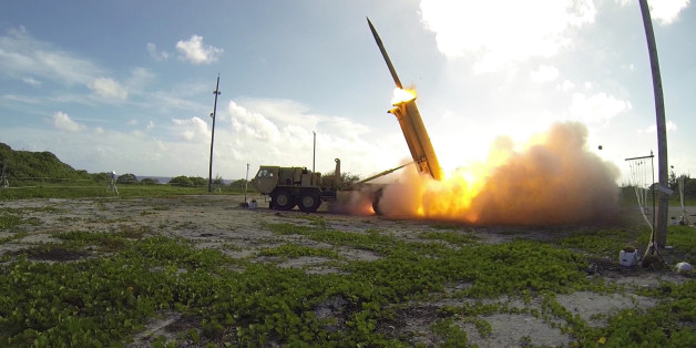A Terminal High Altitude Area Defense (THAAD) interceptor is launched from a THAAD battery located on Wake Island, during Flight Test Operational (FTO)-02 Event 2a. During the test, the THAAD system successfully intercepted two air-launched ballistic missile targets