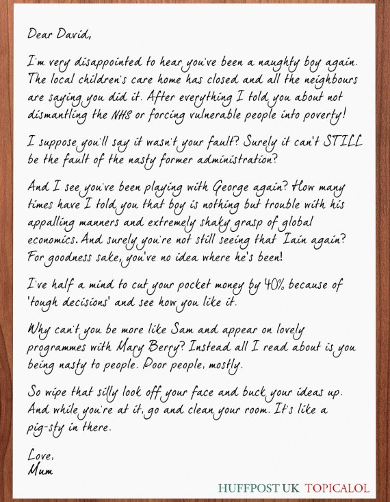 david cameron mum letter from