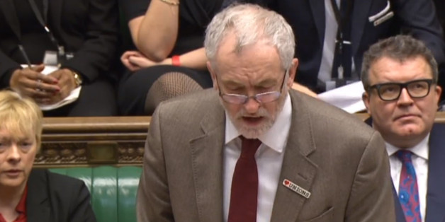 Jeremy Corbyn at Prime Minister's Questions today wearing his badge with pride