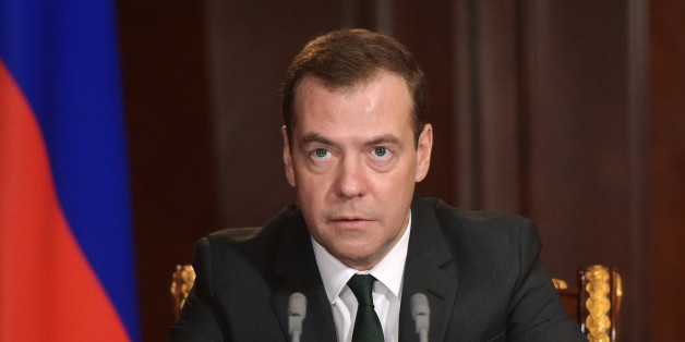 Russian Prime Minister Dmitry Medvedev holds a meeting on the situation in banking in the Gorki residence, outside Moscow, Russia, Monday, Feb.  8, 2016. The Central Bank pulled the license for Interkommerzbank, saying there was a significant imbalance between the assets and liabilities of the country's 67th largest bank. It also withdrew the license of the country's 186th largest bank, Alta Bank, on the grounds that it was unable to meet creditors' claims.(Alexander Astafyev/Sputnik, Government Press Service Pool Photo via AP)