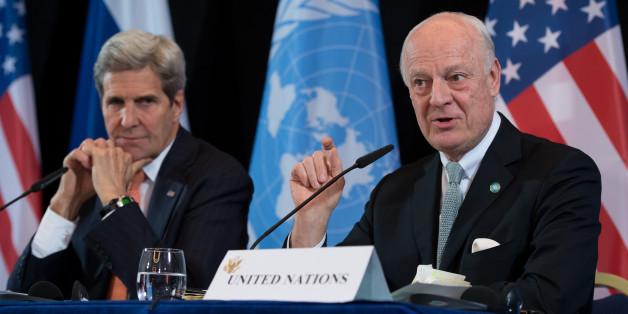 Der Außenminister der USA, John Kerry (l), und der UN-Syrien-Sondergesandte Staffan de Mistura