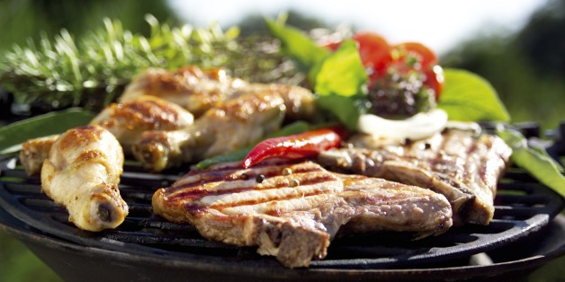 Meat on barbecue grill, close-up