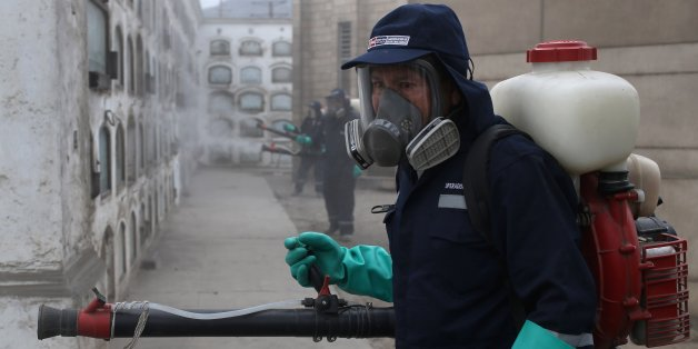 Health workers fumigate against the Aedes aegypti mosquito, a vector for the spread of Dengue, Chikungunya and Zika virus, at Presbitero Maestro cemetery in Lima, Peru, Friday, Feb. 12, 2016. The Aedes aegypti mosquito known to live and breed in people's homes and yards, making it tough to reach with sprays and often requiring labor-intensive door-to-door interventions. (AP Photo/Martin Mejia)