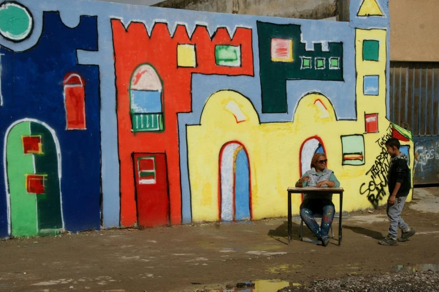 Tunisie Une Jolie Fresque Sur Le Mur De Lcole Primaire De La Cit