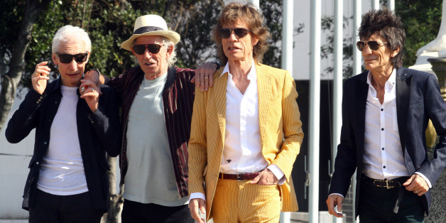British Rolling Stones' (L-R) Charlie Watts, Keith Richards, Mick Jagger and Ronnie Wood arrive to the National Stadium in Santiago on February 1, 2016, for a sound test. AFP PHOTO/JORGE AMENGUAL / AFP / JORGE AMENGUAL        (Photo credit should read JORGE AMENGUAL/AFP/Getty Images)