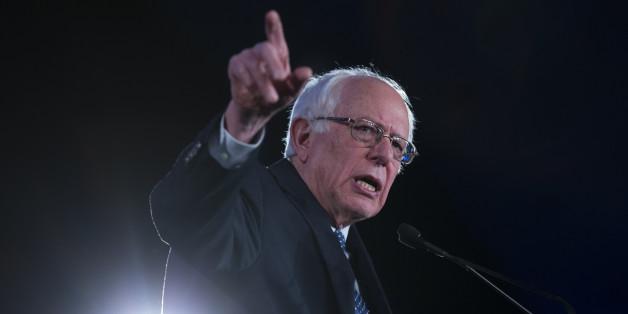 Democratic presidential candidate Sen. Bernie Sanders, I-Vt., speaks during the Jefferson Jackson Dinner, on Saturday, Feb. 13, 2016, in Denver. (AP Photo/Evan Vucci)